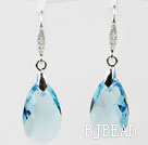 22mm Light Blue Color Teardrop Shape Austrian Crystal Earrings under $ 40