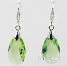 16mm Apple Green Color Teardrop Shape Austrian Crystal Earrings