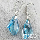 18mm Sky Blue Color Irregular Shape Austrian Crystal Earrings