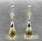Classic Design Dangle Style Yellow Faceted Austrian Crystal Drop Shape Earrings under $ 40