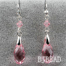 Classic Design Dangle Style Pink Faceted Austrian Crystal Drop Shape Earrings under $ 40