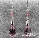 Classic Design Dangle Style Pink facetter østrigske Crystal dråbeform øreringe