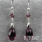 Classic Design Dangle Style Purple Red Faceted Austrian Crystal Drop Shape Earrings under $ 40