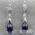 Classic Design Dangle Style Purple Faceted Austrian Crystal Drop Shape Earrings