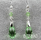 Classic Design Dangle Style Green facetter østrigske Crystal dråbeform øreringe