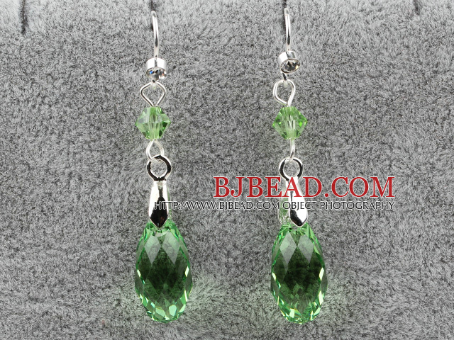 Classic Design Dangle Style Green Faceted Austrian Crystal Drop Shape Earrings