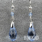 Dangle Style 16mm Blue Faceted Austrian Crystal Earrings