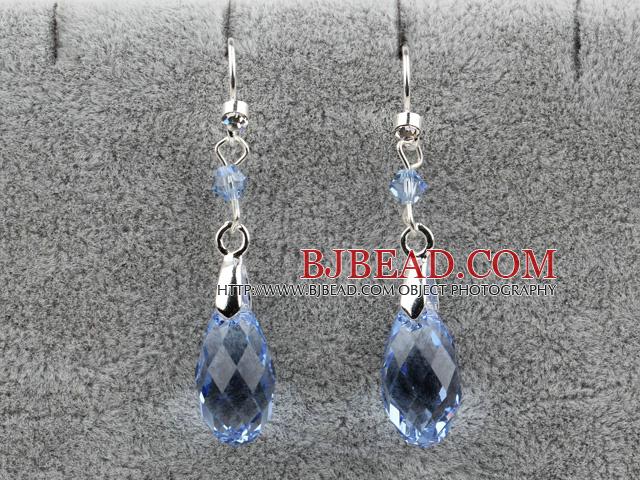 Dangle Style 16mm Blue Faceted Austrian Crystal Earrings
