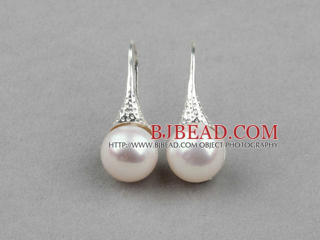 Classic Design White Freshwater Pearl Earrings