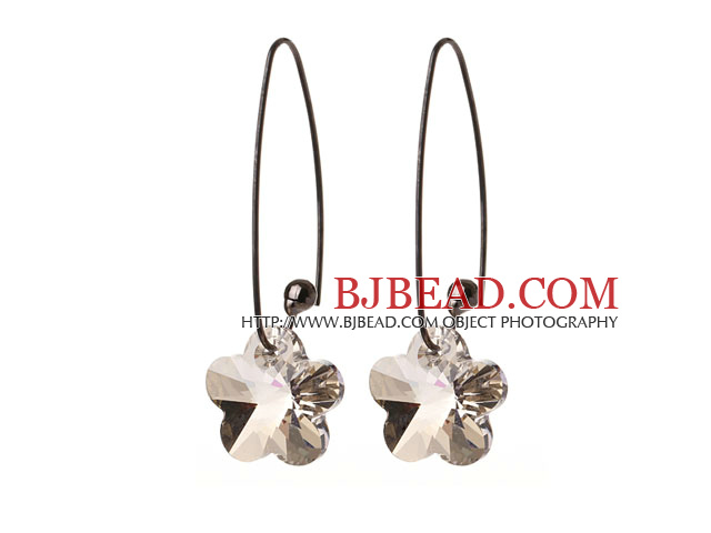 2014 Summer New Design Clear Gray Color Wintersweet Flower Shape Austrian Crystal Earrings With Long Hook