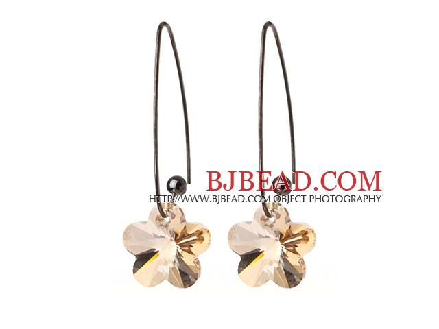 2014 Summer New Design Clear Yellow Color Wintersweet Flower Shape Austrian Crystal Earrings With Long Hook
