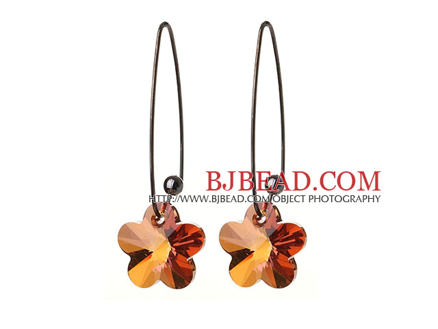 2014 Summer New Design Champagne Color Wintersweet Flower Shape Austrian Crystal Earrings With Long Hook