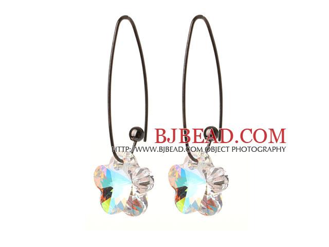 2014 Summer New Design Wintersweet Flower Shape Clear White Austrian Crystal Earrings With Long Hook