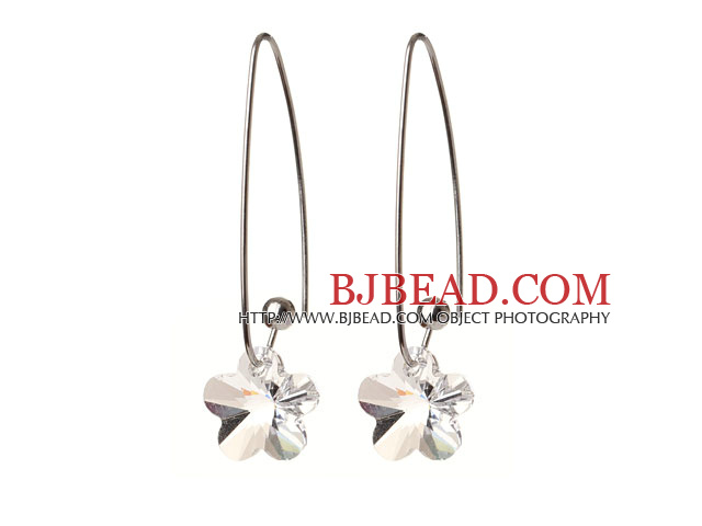 2014 Summer New Design Wintersweet Flower Shape Clear Austrian Crystal Earrings With Long Hook