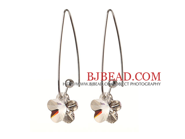 2014 Summer New Design Gray Color Wintersweet Flower Shape Austrian Crystal Earrings With Long Hook