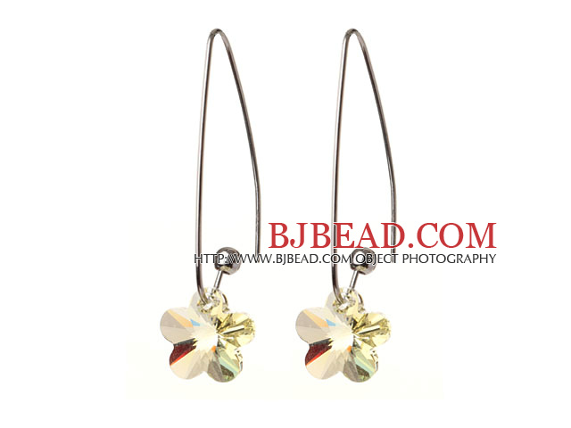 2014 Summer New Design Small Wintersweet Flower Shape Clear Yellow Austrian Crystal Earrings With Long Hook