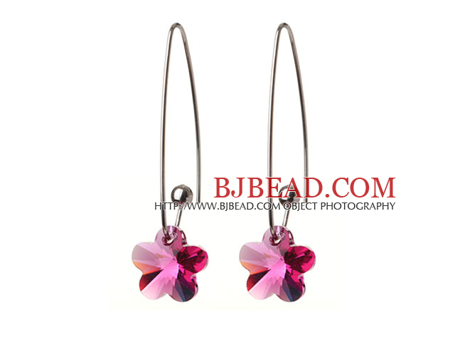2014 Summer New Design Small Wintersweet Flower Shape Clear Rose Red Austrian Crystal Earrings With Long Hook