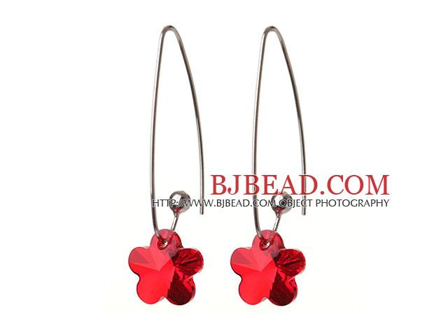 2014 Summer New Design Small Wintersweet Flower Shape Clear Red Austrian Crystal Earrings With Long Hook