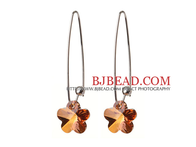 2014 Summer New Design Small Wintersweet Flower Shape Champagne Austrian Crystal Earrings With Long Hook