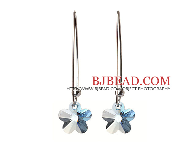 2014 Summer New Design Small Wintersweet Flower Shape Celar Blue Austrian Crystal Earrings With Long Hook