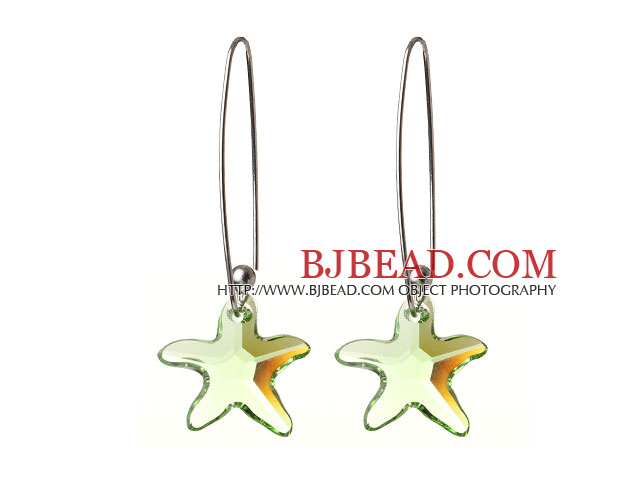 2014 Summer New Design Sea Star Shape Clear Green Austrian Crystal Earrings With Long Hook
