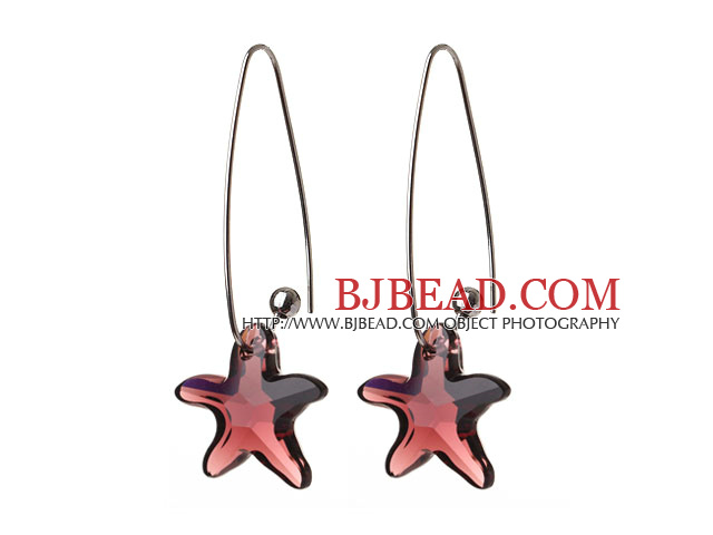 2014 Summer New Design Sea Star Shape Wine Red Austrian Crystal Earrings With Long Hook