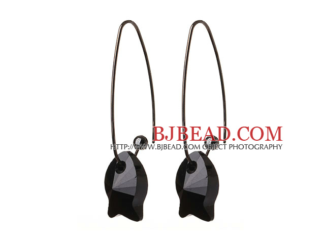 2014 Summer New Design Cute Fish Shape Black Austrian Crystal Earrings With Long Hook