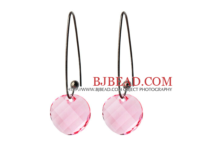2014 Summer Design Potato Chips Shape Clear Pink Austrian Crystal Earrings With Long Hook
