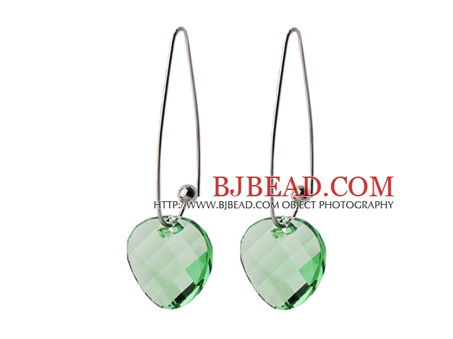 2014 Summer Design Potato Chips Shape Clear Green Austrian Crystal Earrings With Long Hook