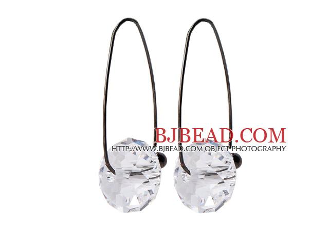 2014 Summer Design Earth Shape Clear Austrian Crystal Earrings With Long Hook