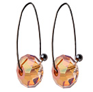 2014 Summer Design Earth Shape Champagne Austrian Crystal Earrings With Long Hook