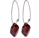 2014 Summer Design Ice Cube Shape Wine Red Austrian Crystal Earrings With Long Hook