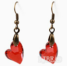 Vintage Style Heart Shape Bright Red Color Austrian Crystal Earrings under $ 40