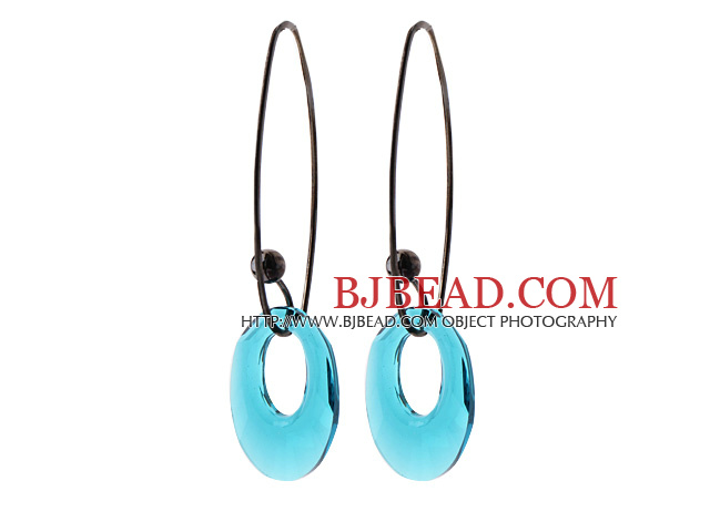 2014 Summer Design Annulus Shape Clear Blue Austrian Crystal Earrings With Long Hook