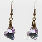 Vintage Style Heart Shape Gray with Colorful Austrian Crystal Earrings under $ 40