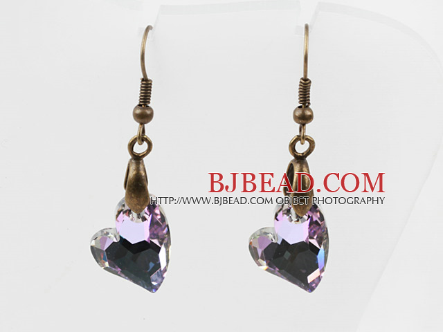 Vintage Style Heart Shape Gray with Colorful Austrian Crystal Earrings