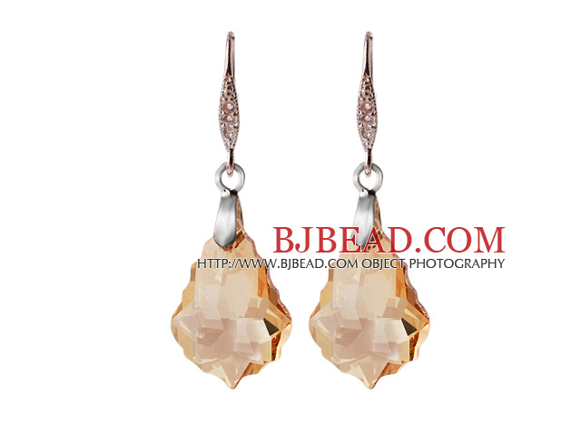 2014 Summer Design Baroque Leaf Shape Champagne Austrian Crystal Earrings With Elegant Hook