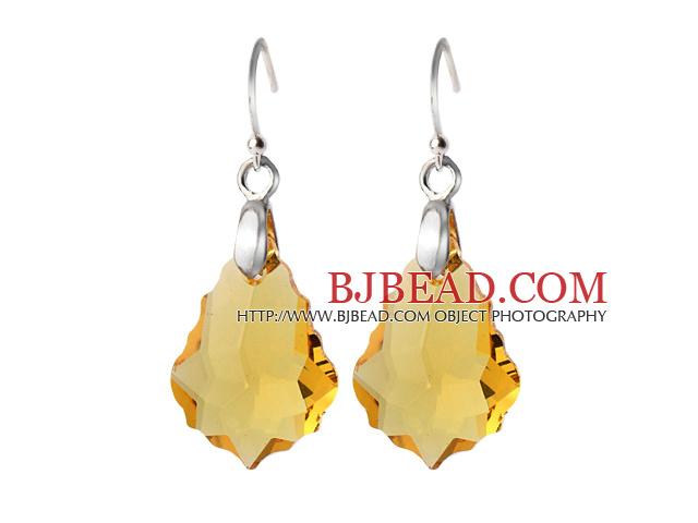 2014 Summer Design Baroque Leaf Shape Yellow Austrian Crystal Earrings With Elegant Hook