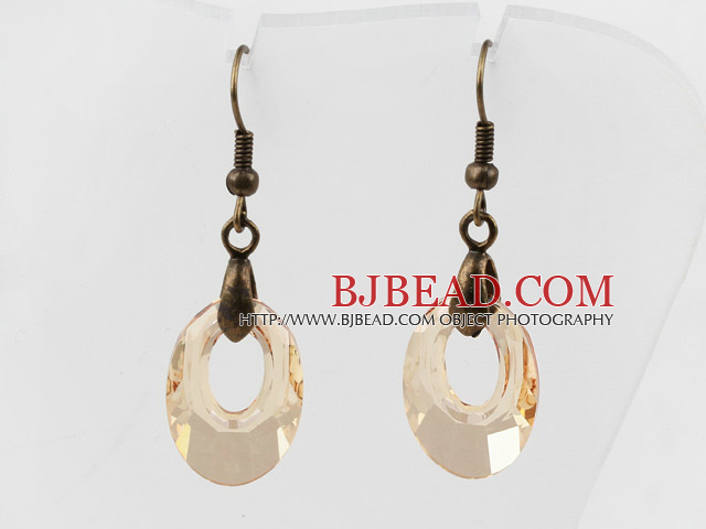Vintage Style Donut Shape Champagne Color Austrian Crystal Earrings