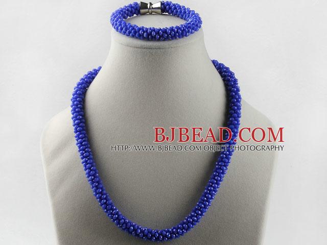 109cf7d3f4dc Color azul oscuro cristal checo pulsera collar engastado con cierre ...