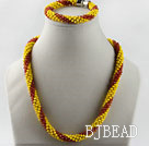 red and yellow Czech crystal necklace bracelet set with magnetic clasp under $ 40