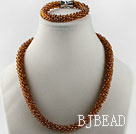 Brown color Czech crystal necklace bracelet set with magnetic clasp