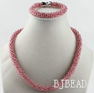 cherry color  Czech crystal necklace bracelet set with magnetic clasp
