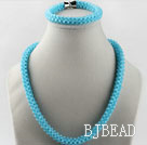 sea blue color Czech crystal necklace bracelet set with magnetic clasp