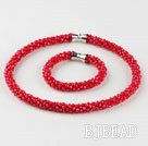 Red color Czech crystal necklace bracelet set with magnetic clasp