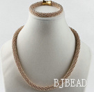 Gold plated  necklace bracelet set with magnetic clasp
