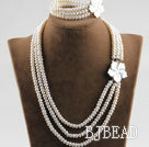 three strand 6-7mm white pearl necklace bracelet set with shell flower clasp