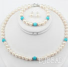 White Freshwater Pearl and Blue Turquoise Set ( Necklace Bracelet and Matched Studs )