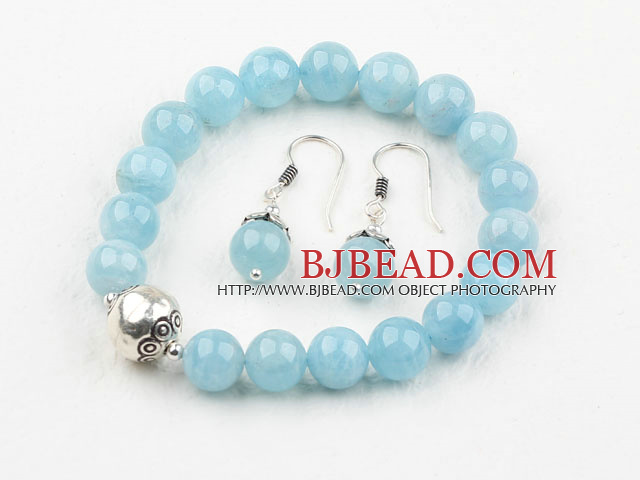 Classic Design 8mm Natural Aquamarine Beaded Thai Silver Bracelet with Matched Bracelet