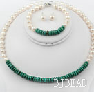 New Design White Freshwater Pearl and Turquoise Set ( Necklace Bracelet and Studs )
